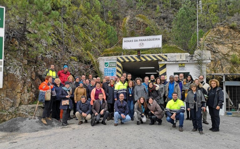 REMIX partners standing outside the Panasqueira tin and tungsten mine